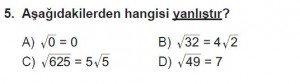 8. Sınıf Matematik kazanım Test 4 soru5