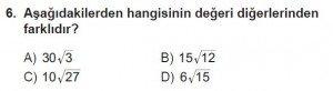 8. Sınıf Matematik kazanım Test 4 soru6