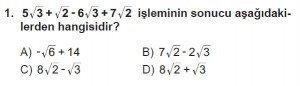 8. Sınıf Matematik kazanım Test 5 soru1