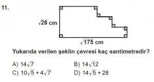 8. Sınıf Matematik kazanım Test 5 soru11