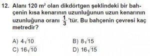 8. Sınıf Matematik kazanım Test 5 soru12