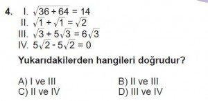8. Sınıf Matematik kazanım Test 5 soru4