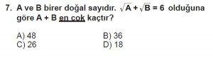 8. Sınıf Matematik kazanım Test 5 soru7