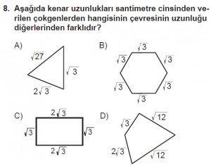 8. Sınıf Matematik kazanım Test 5 soru8