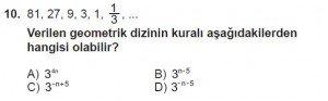 8. Sınıf Matematik kazanım Test 9 soru10
