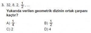 8. Sınıf Matematik kazanım Test 9 soru3