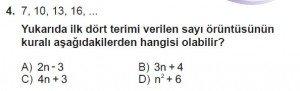 8. Sınıf Matematik kazanım Test 9 soru4