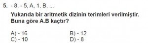 8. Sınıf Matematik kazanım Test 9 soru5