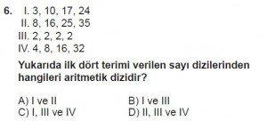 8. Sınıf Matematik kazanım Test 9 soru6