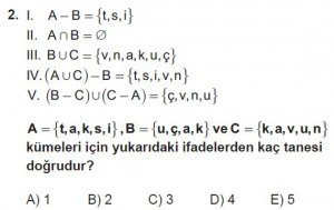 9. Sınıf Matematik kazanım Test 2 soru2