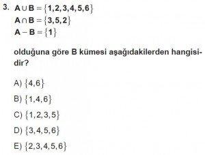 9. Sınıf Matematik kazanım Test 2 soru3