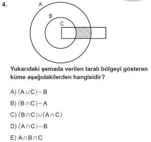 9. Sınıf Matematik kazanım Test 2 soru4