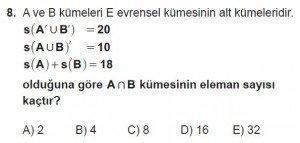 9. Sınıf Matematik kazanım Test 2 soru8