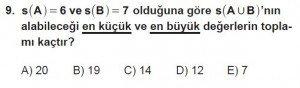 9. Sınıf Matematik kazanım Test 2 soru9