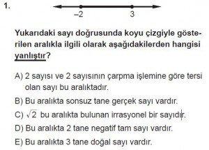 9. Sınıf Matematik kazanım Test 3 soru1