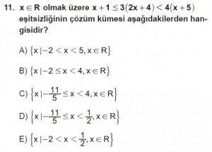 9. Sınıf Matematik kazanım Test 3 soru11