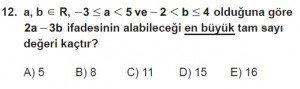 9. Sınıf Matematik kazanım Test 3 soru12