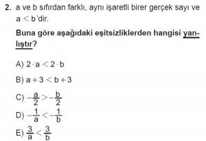 9. Sınıf Matematik kazanım Test 3 soru2