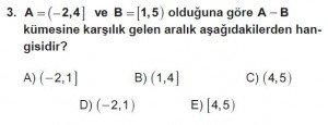 9. Sınıf Matematik kazanım Test 3 soru3