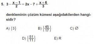 9. Sınıf Matematik kazanım Test 3 soru5