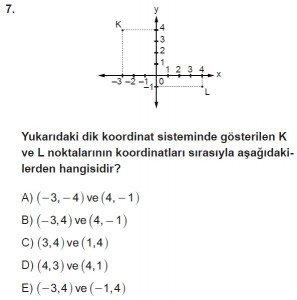 9. Sınıf Matematik kazanım Test 3 soru7
