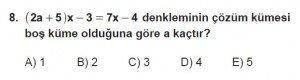 9. Sınıf Matematik kazanım Test 3 soru8