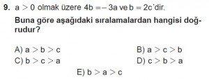 9. Sınıf Matematik kazanım Test 3 soru9