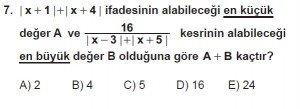 9. Sınıf Matematik kazanım Test 4 soru7