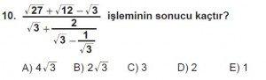9. Sınıf Matematik kazanım Test 6 soru10