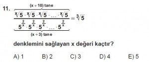 9. Sınıf Matematik kazanım Test 6 soru11