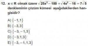 9. Sınıf Matematik kazanım Test 6 soru12