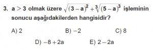 9. Sınıf Matematik kazanım Test 6 soru3