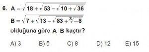 9. Sınıf Matematik kazanım Test 6 soru6