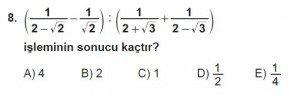 9. Sınıf Matematik kazanım Test 6 soru8