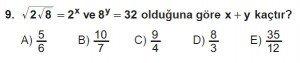 9. Sınıf Matematik kazanım Test 6 soru9