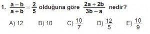 9. Sınıf Matematik kazanım Test 7 soru1