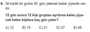 9. Sınıf Matematik kazanım Test 7 soru6