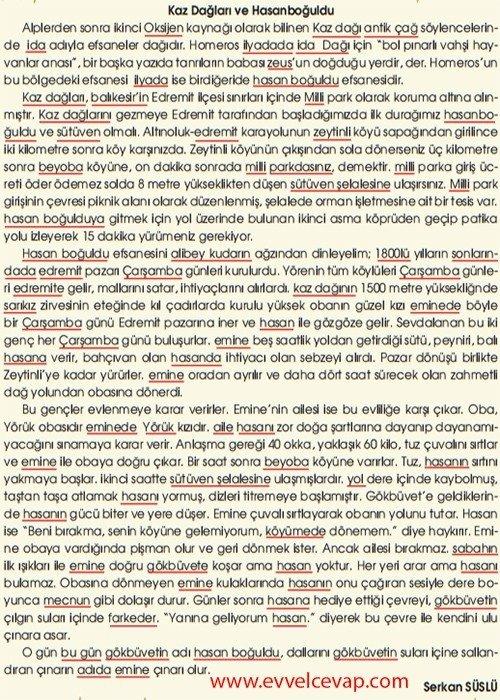 Türk Çayı 9. Etkinlik Cevabı