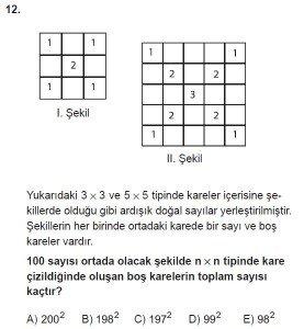 Mezun Matematik kazanım Test 1 soru 12