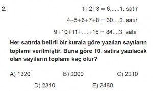 Mezun Matematik kazanım Test 1 soru 2