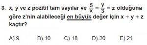Mezun Matematik kazanım Test 1 soru 3