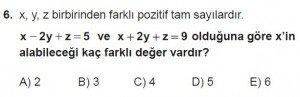 Mezun Matematik kazanım Test 1 soru 6