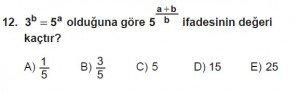 Mezun Matematik kazanım Test 10 soru 12