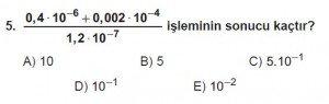 Mezun Matematik kazanım Test 10 soru 5