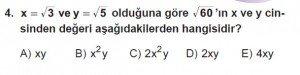 Mezun Matematik kazanım Test 11 soru 4