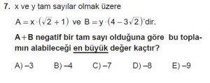 Mezun Matematik kazanım Test 11 soru 7