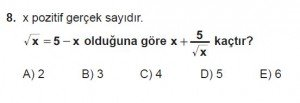 Mezun Matematik kazanım Test 11 soru 8