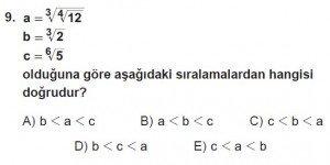 Mezun Matematik kazanım Test 11 soru 9