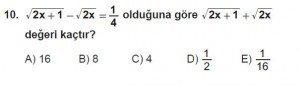 Mezun Matematik kazanım Test 12 soru 10