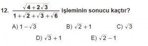 Mezun Matematik kazanım Test 12 soru 12